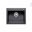 Evier de cuisine - KIVI - Granit noir - 1 cuve carrée 52 x 43 cm - à encastrer