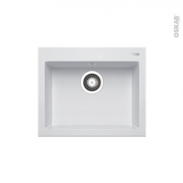 Evier de cuisine - KIVI - Granit blanc - 1 cuve carrée 52 x 43 cm - à encastrer