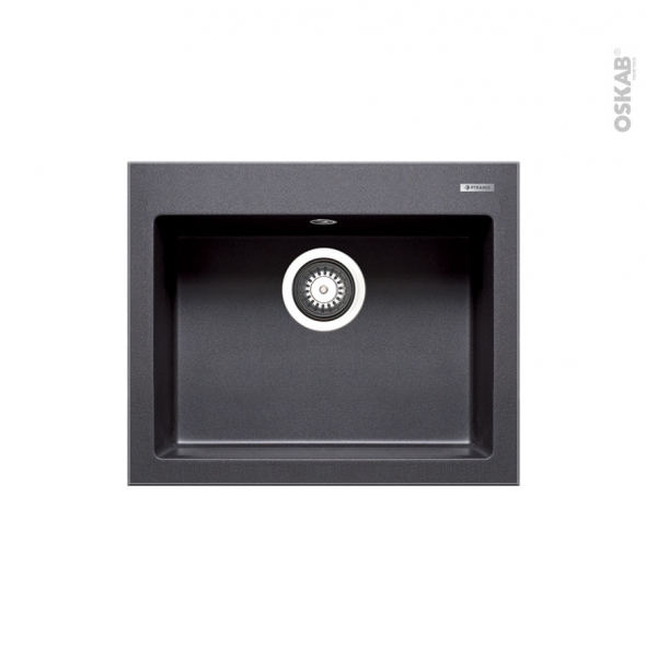 Evier De Cuisine Kivi Granit Noir 1 Cuve Carree 52 X 43 Cm A Encastrer Oskab