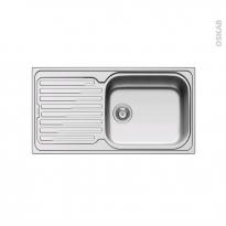 Evier de cuisine - CORO - Inox anti-rayures - 1 grand bac égouttoir - à encastrer