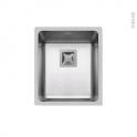 Evier de cuisine - LAGO - Inox lisse - 1 cuve carré 38 x 44 cm - sous plan