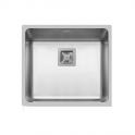 Evier de cuisine - LAGO - Inox lisse - 1 cuve carré 49 x 44 cm - à fleur de plan