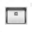 Evier de cuisine - LAGO - Inox lisse - 1 cuve carré 54 x 44 cm - à fleur de plan