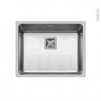 Evier de cuisine - LAGO - Inox lisse - 1 cuve carré 54 x 44 cm - sous plan
