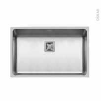 Evier de cuisine - LAGO - Inox lisse - 1 cuve carré 74 x 44 cm - sous plan