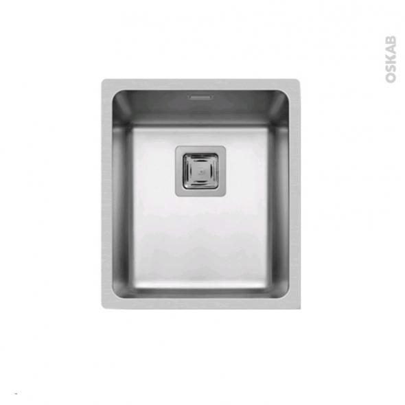 Evier de cuisine - LAGO - Inox lisse - 1 cuve carré 38 x 44 cm - à fleur de plan
