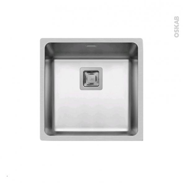 Evier de cuisine - LAGO - Inox lisse - 1 cuve carré 44 x 44 cm - à fleur de plan