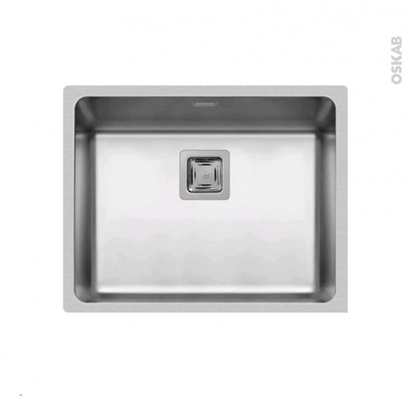 Evier de cuisine - LAGO - Inox lisse - 1 cuve carré 54 x 44 cm - à encastrer affleurant