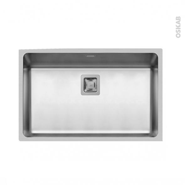 Evier de cuisine - LAGO - Inox lisse - 1 cuve carré 74 x 44 cm - à fleur de plan
