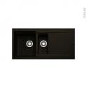 Evier de cuisine - LATCHA - Granit noir - 1 bac 1/2 égouttoir - à encastrer
