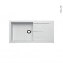 Evier de cuisine - LATCHA - Granit blanc - 1 grand bac égouttoir - à encastrer