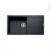 Evier de cuisine - LATCHA - Granit noir - 1 grand bac égouttoir - à encastrer