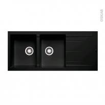 Evier de cuisine - LATCHA - Granit noir - 2 bacs identiques égouttoir - à encastrer