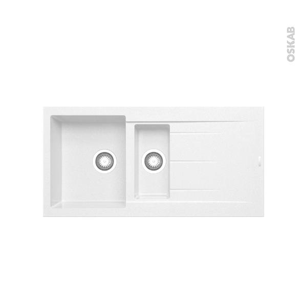 Evier LATCHA - Granit blanc - 1 bac 1/2 égouttoir - à encastrer