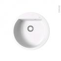 Evier de cuisine - LOKKA - Granit blanc - 1 cuve ronde Ø51 cm - à encastrer