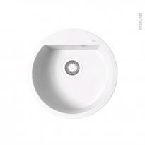 Evier de cuisine - LOKKA - Granit blanc - 1 cuve ronde Ø49 cm - à encastrer