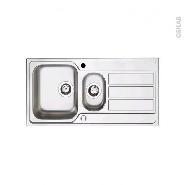 Evier de cuisine - MARANO - Inox anti-rayures - 1 bac 1/2 égouttoir - à encastrer