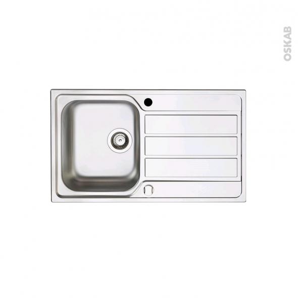Evier de cuisine - MARANO - Inox anti-rayures - 1 bac égouttoir - à encastrer