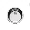 Evier de cuisine - NERA - Inox anti-rayures - 1 cuve ronde  Ø45 cm - à encastrer