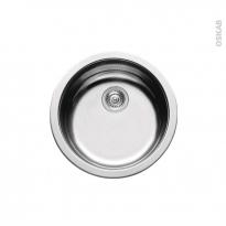 Evier de cuisine - NERA - Inox lisse - 1 cuve ronde  Ø45 cm - à encastrer