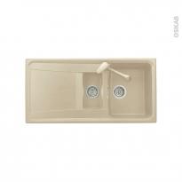 Evier de cuisine - OFENTO - Granit beige - 1 bac 1/2 égouttoir - à encastrer