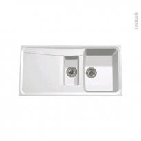 Evier de cuisine - OFENTO - Granit blanc - 1 bac 1/2 égouttoir - à encastrer