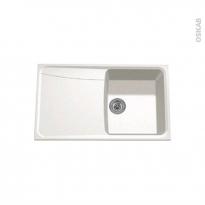 Evier de cuisine - OFENTO - Granit blanc - 1 bac égouttoir - à encastrer