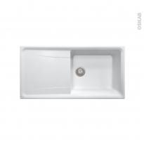 Evier de cuisine - OFENTO - Granit blanc - 1 grand bac égouttoir - à encastrer
