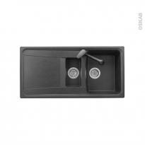 Evier de cuisine - OFENTO - Granit noir - 1 bac 1/2 égouttoir - à encastrer