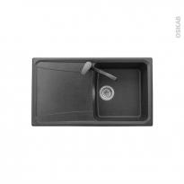 Evier de cuisine - OFENTO - Granit noir - 1 bac égouttoir - à encastrer