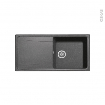 Evier de cuisine - OFENTO - Granit noir - 1 grand bac égouttoir - à encastrer