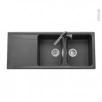 Evier de cuisine - OFENTO - Granit noir - 2 bacs égouttoir - à encastrer