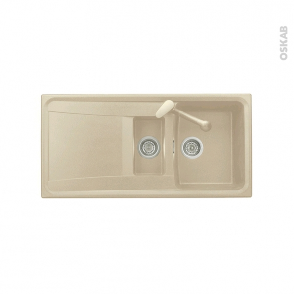 Evier de cuisine - OFENTO - Granit beige - 1,5 bacs égouttoir - à encastrer