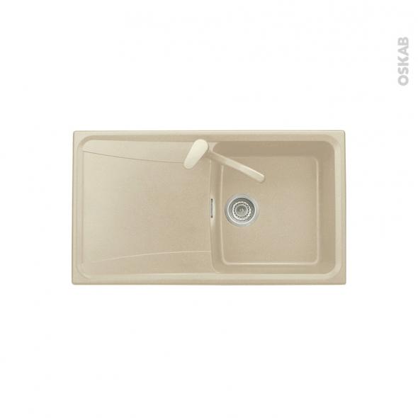 Evier de cuisine - OFENTO - Granit beige - 1 bac égouttoir - à encastrer
