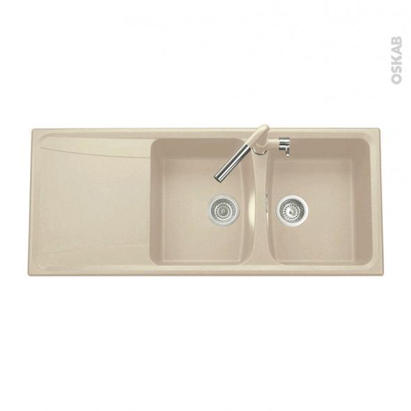 Evier de cuisine - OFENTO - Granit beige - 2 bacs égouttoir - à encastrer