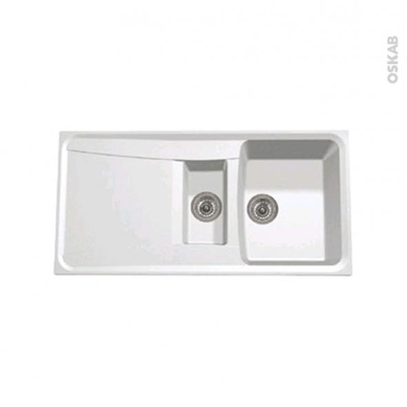 Evier de cuisine - OFENTO - Granit blanc - 1,5 bacs égouttoir - à encastrer