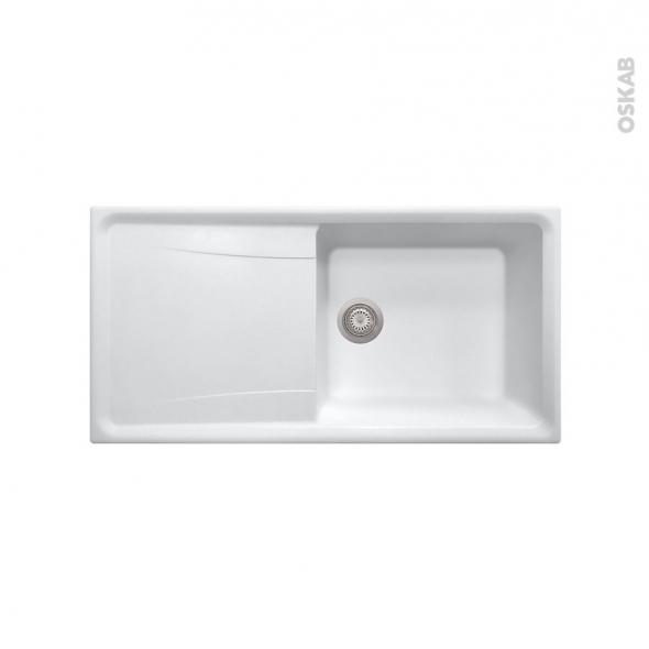Evier De Cuisine Ofento Granit Blanc 1 Grand Bac égouttoir à Encastrer Oskab