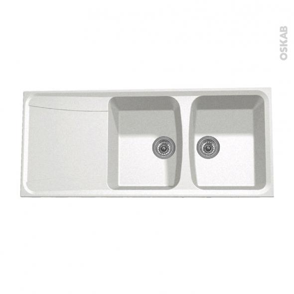 Evier de cuisine - OFENTO - Granit blanc - 2 bacs égouttoir - à encastrer