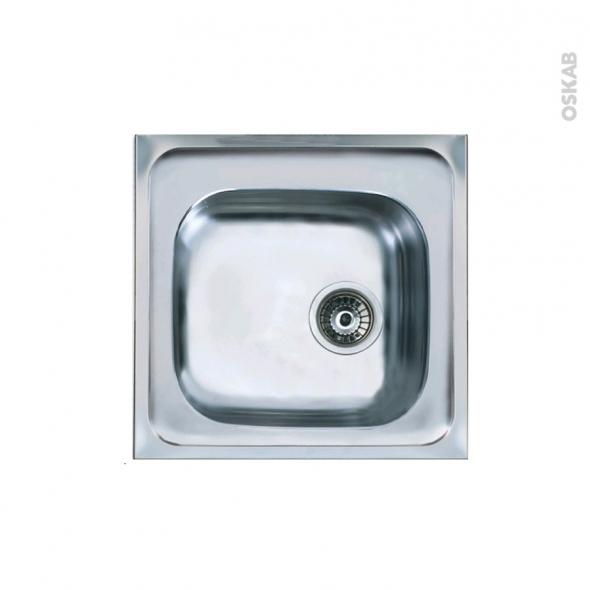 Evier de cuisine - RENO - Inox lisse - 1 cuve carré 46,5 x 43,5 cm - à encastrer