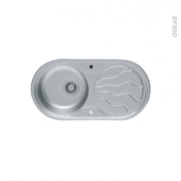 Evier de cuisine - SOLO - Inox anti-rayures - 1 bac égouttoir - à encastrer