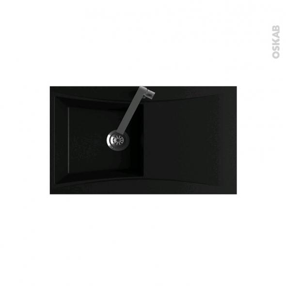 Evier de cuisine VAGO Résine noir 1 bac égouttoir à encastrer - Oskab