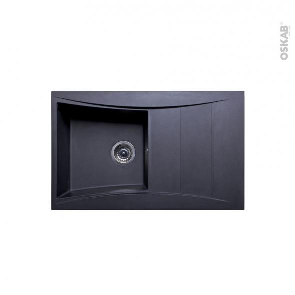 Evier de cuisine - VAGO - Résine noir - 1 bac égouttoir - à encastrer