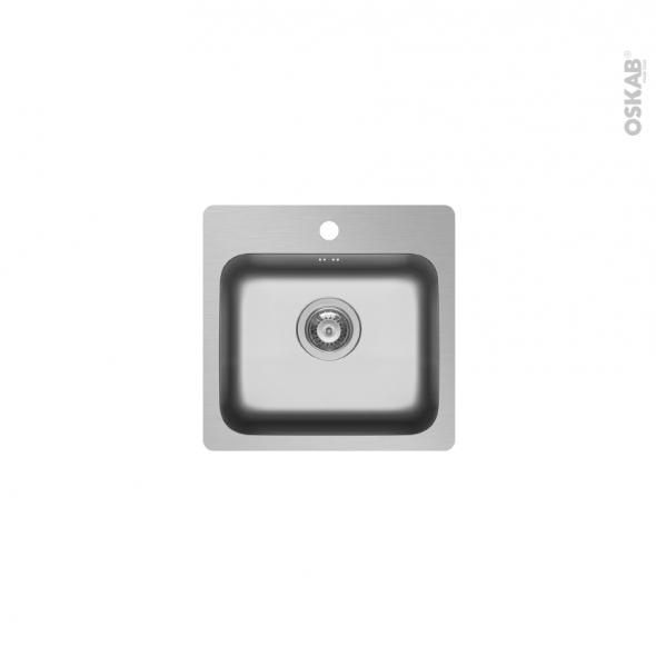 Evier de cuisine ZERIA - Inox lisse - 1 cuve carrée 45 x 46 cm - à encastrer