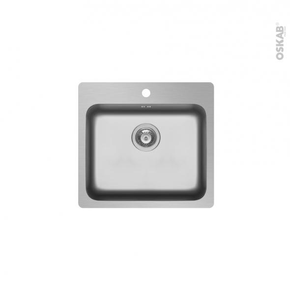 Evier de cuisine ZERIA - Inox lisse - 1 cuve carrée 56 x 52 cm - à encastrer
