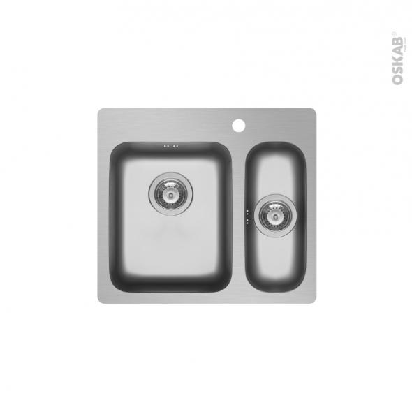 Evier de cuisine ZERIA - Inox lisse - 1 cuve carrée 58 x 52 cm - à encastrer