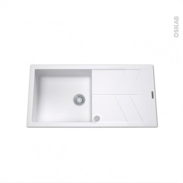 Evier de cuisine - COMO - Granit blanc - 1 grand bac égouttoir - à encastrer
