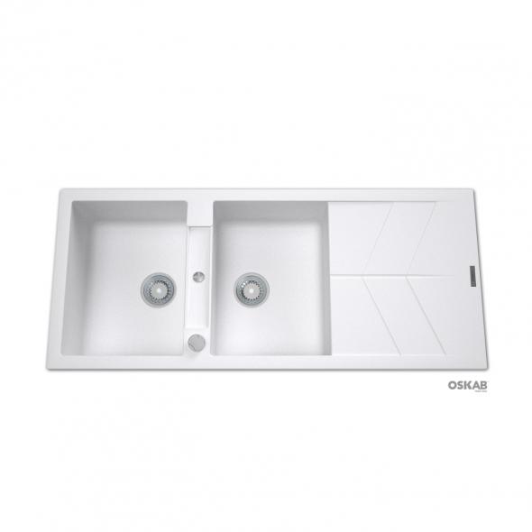 Evier COMO - Granit blanc - 2 bacs égouttoir - à encastrer