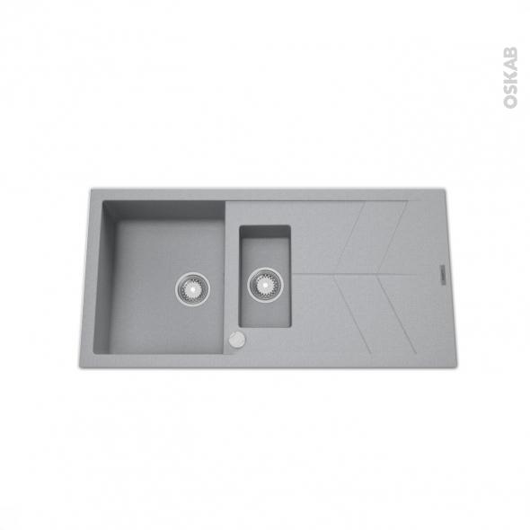 Evier de cuisine - COMO - Granit gris - 1 bac 1/2 égouttoir - à encastrer