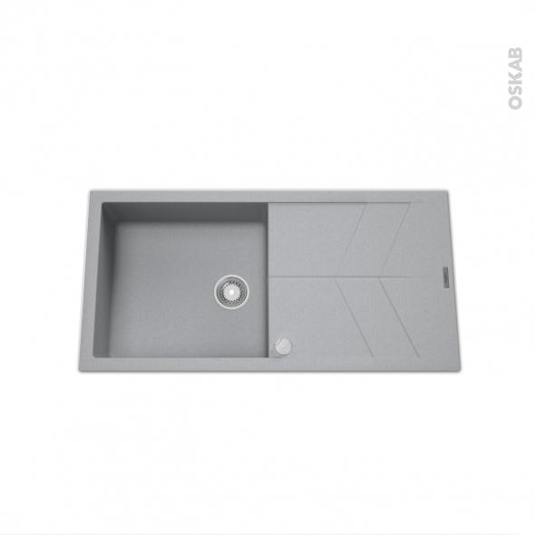 Evier COMO - Granit gris - 1 grand bac égouttoir - à encastrer
