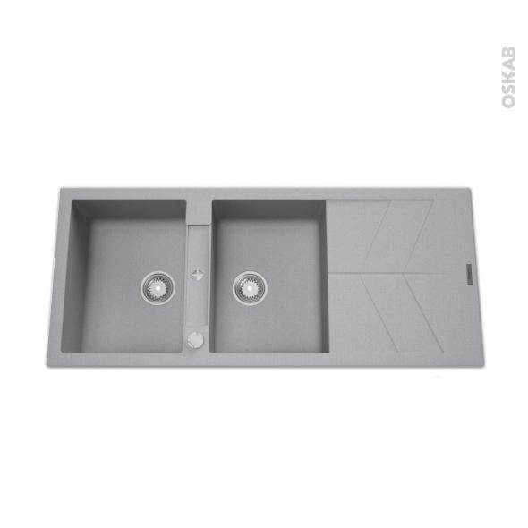 Evier COMO - Granit gris - 2 bacs égouttoir - à encastrer